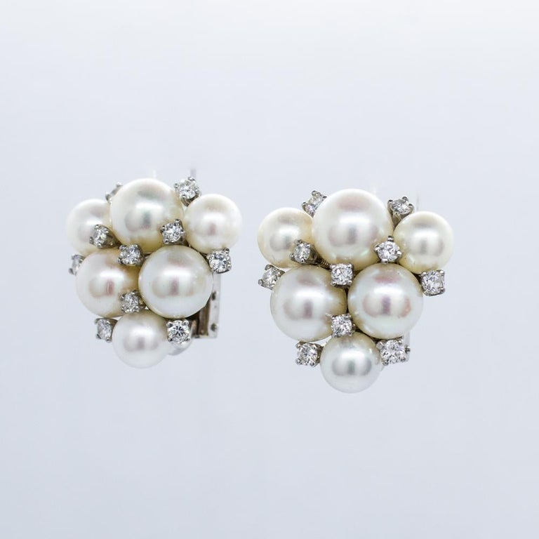 Estate 18 Karat White Gold Carvin French Pearl and Diamond Cluster Earrings For Sale 2