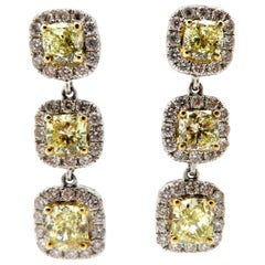 Estate 18 Karat White Gold Fancy Yellow Cushion Diamond Dangle Halo Earrings