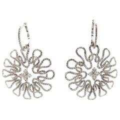 Estate 18 Karat White Gold Flower Circle Round Diamond Hoop Dangle Earrings