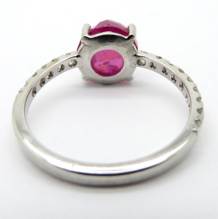 Ruby Engagement Rings For Sale: Estate 18 Karat White Gold GIA Burmese No Heat Ruby