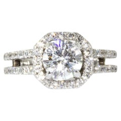 Estate 18 Karat White Gold GIA Certified Round Cut Diamond Engagement Ring