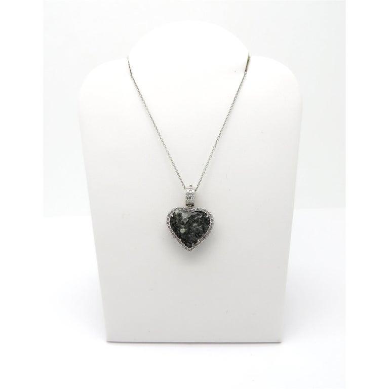 bf8005bb48e Estate 18 Karat White Gold Rough Black Diamond Heart Necklace Pendant