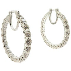 Estate 18 Karat White Gold Round Diamond in and Out Hoop Fashion Earrings