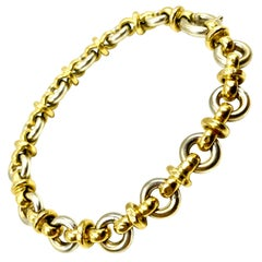 Estate 18K Yellow and White Gold Chain Link Bracelet, Arezzo, Italy
