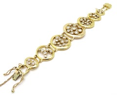 Estate 18 Karat Yellow Gold Bezel set Bubble Round Diamond Fashion Bracelet