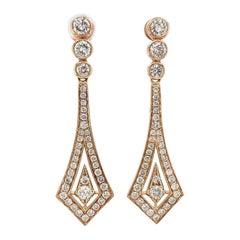 Estate 18k Yellow Gold Custom Made Diamond Drop Earrings 2.47cts