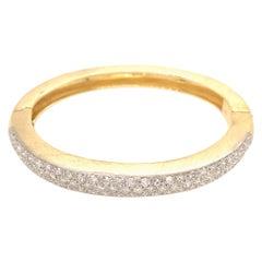 Estate 18k Yellow Gold Single-Cut Diamond Bangle Bracelet