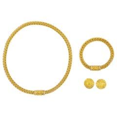 Estate 18k Yellow Gold Woven Wheat Necklace, Bracelet and Earrings by La Pepita