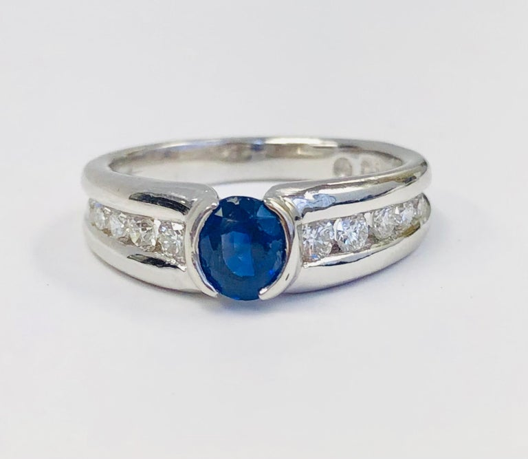 Oval Cut Estate 18 Karat White Gold Diamond and Burma Sapphire Ring For Sale