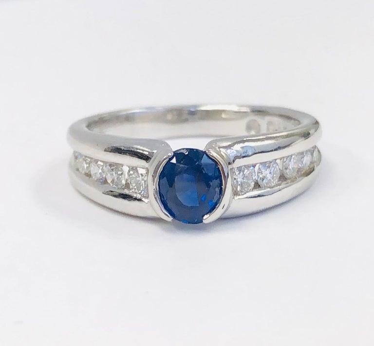 Women's Estate 18 Karat White Gold Diamond and Burma Sapphire Ring For Sale