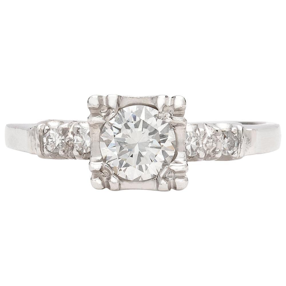 Estate 1950s Diamond and Platinum Engagement Ring