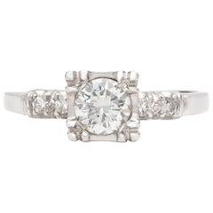 Estate 1950s Diamond and Platinum Engagement Ring