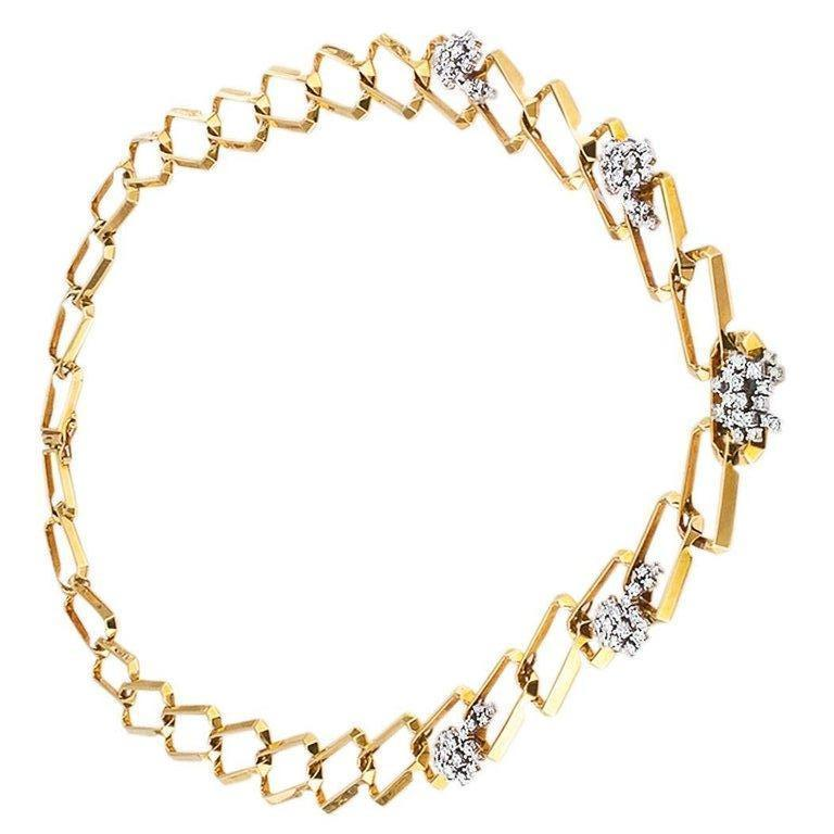 Contemporary  1970s Long Diamond Gold Link Necklace For Sale