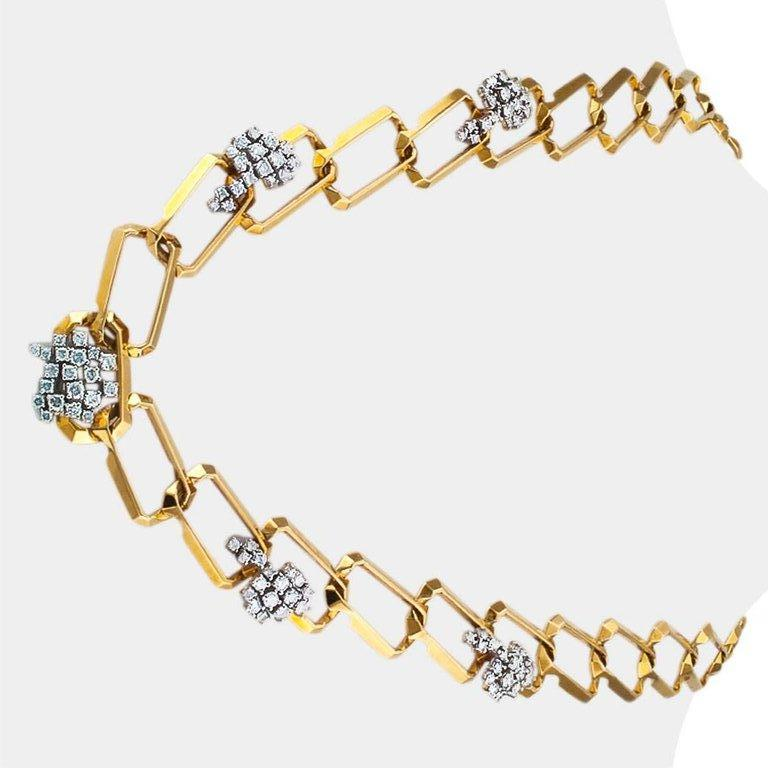 Round Cut  1970s Long Diamond Gold Link Necklace For Sale