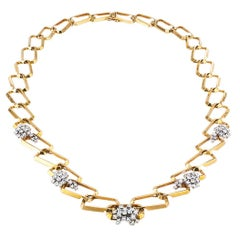 1970s Long Diamond Yellow Gold Link Necklace