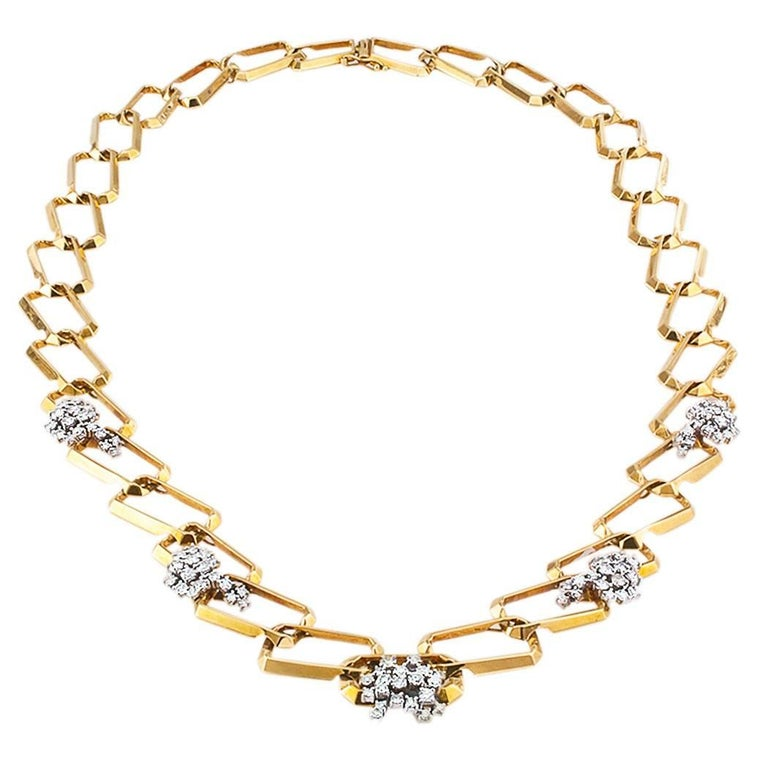 1970s Long Diamond Gold Link Necklace For Sale