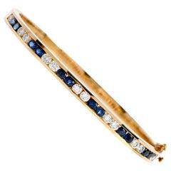Estate 1980s Diamond Sapphire 18 Karat Gold Bangle Bracelet