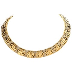 Estate 1980s Stylish 18 Karat Diamond Gold Parenthese Style Necklace
