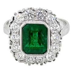 Estate Emerald Diamond Engagement Ring