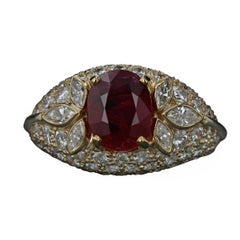 Estate 2.11 Carat Oval Ruby and Diamond Pave Ring