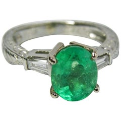 Estate 2.21 Carat Vintage Emerald Diamond Ring Platinum and 18 Karat Gold