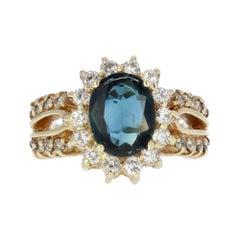 Estate 2.50 Carat Blue Sapphire and Diamond Halo Ring