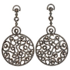 Estate 26.90 Carat Diamond Gold Large Rose Cut Drop Dangle Earrings