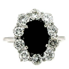 Estate 3 Carat Sapphire Diamond Gold Cluster Ring