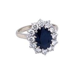 Estate 3 Carat Sapphire Diamond Gold Engagement Ring