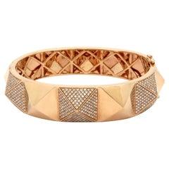 Estate 3.00 Carat Round Diamond Pyramid Style 14 Karat Rose Gold Bangle Bracelet