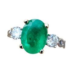 Estate 3.30 Emerald and Diamond Engagement Ring Three-Stone 14k