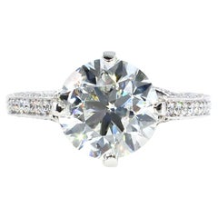Estate 4.36ct Round Brilliant Diamond Solitaire Engagement Wedding Platinum Ring
