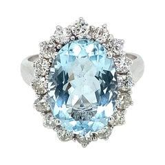 Estate 5 Carat Aquamarine Diamond Cluster Ring