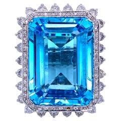 Estate 51 Carat Topaz 4 Carat Diamond Cocktail Ring