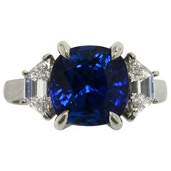 Estate 5.24 Carat Natural Sapphire Diamond Engagement Ring Blue 3-Stone Platinum