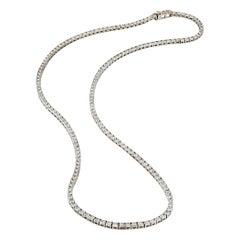 Estate 5.89 Carats Diamonds White Gold Riviera Necklace