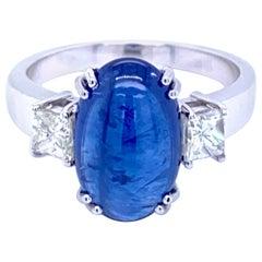 Estate 6 Carat Sapphire Diamond Gold Three-Stone Ring