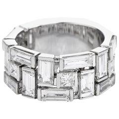 Estate 6.20 Baguette Princess Diamond 18 Karat Gold Wide Band Ring