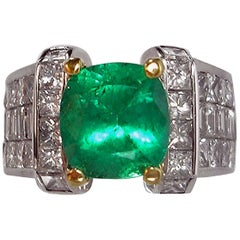 Estate 7.56 Carat Fine Natural Colombian Emerald Diamond Ring 18K Unisex