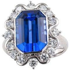 Estate 7.69 Carat Emerald Cut Tanzanite Diamond Platinum Ring