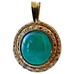 Estate Natural Colombian Cabochon Emerald Diamonds Pendant