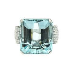Estate 79 Carat Certified Aquamarine Diamond Gold Ring