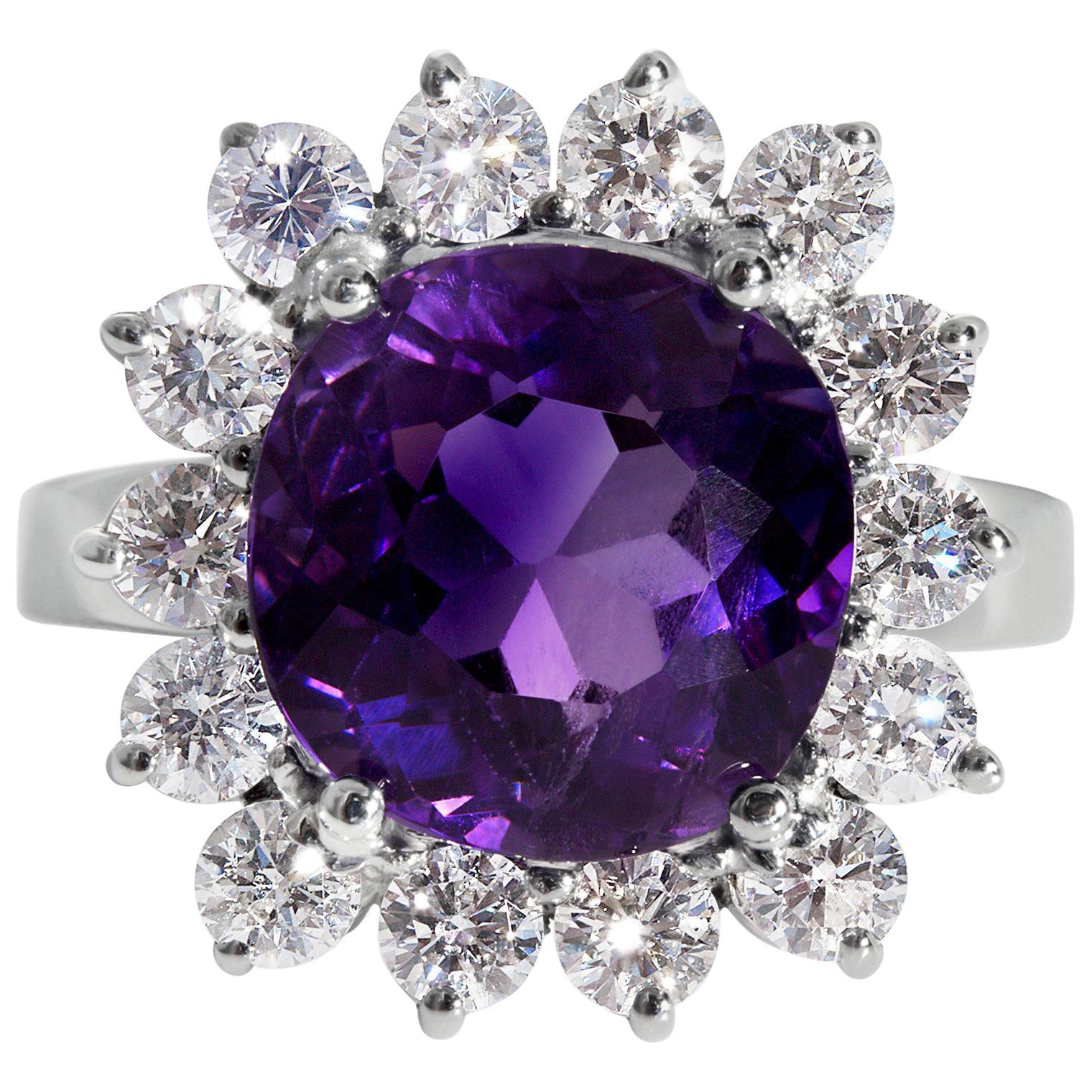 Estate 8.18 Carat Deep Purple Natural Amethyst Diamond Cluster Vintage Ring