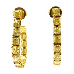 Estate 8.27 Carat Fancy Yellow Radiant Cut 18 Karat Gold Diamond Hoop Earrings
