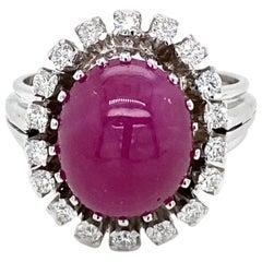 Estate 8.50 Carat Natural Ruby Cabochon Diamond Ring