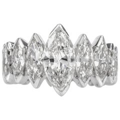 Estate 8.72 Carat Diamond Platinum Marquis Shaped Eternity Band