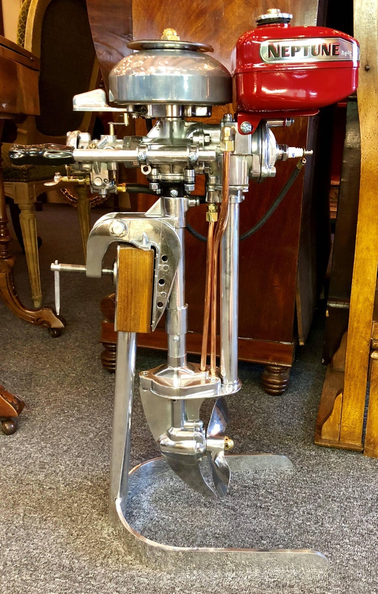 Estate American Mighty Mite Outboard Motor On Custom Stand Circa