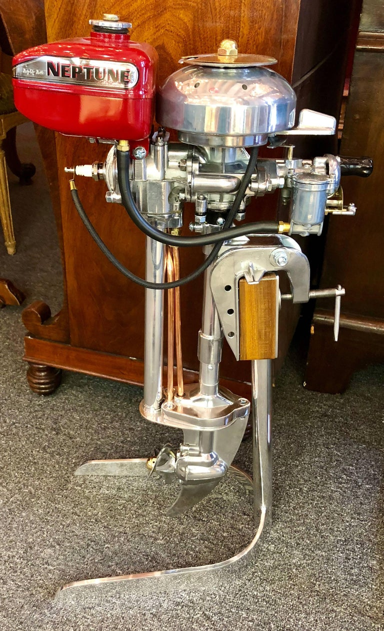 Estate American Mighty Mite Outboard Motor on Custom Stand, circa 1950-1960 In Excellent