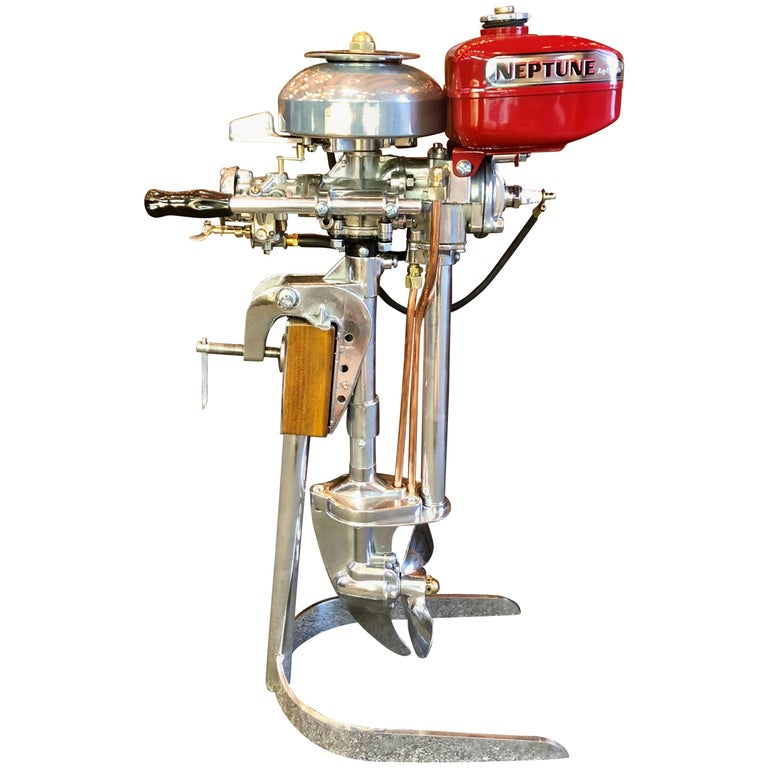 Estate American Mighty Mite Outboard Motor on Custom Stand, circa 1950-1960 For Sale