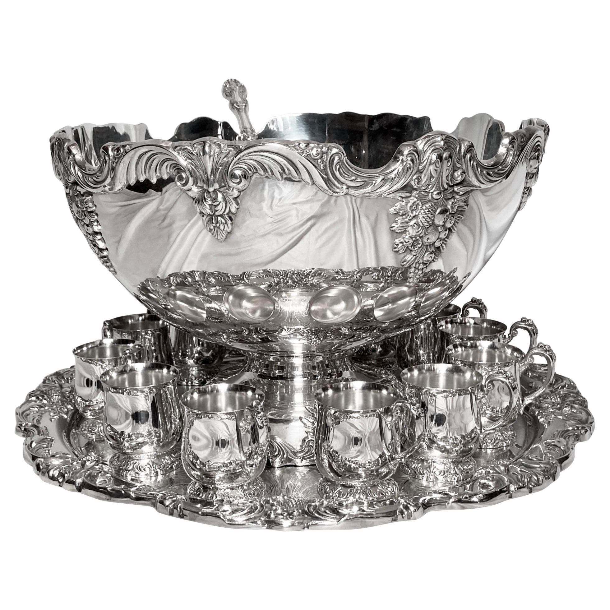 Estate American Reed & Barton 15 Piece Silver Punch Bowl Service, Circa 1950's